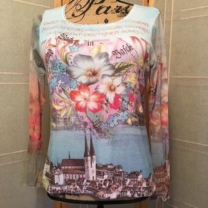 Tops - Tattooed Sleeves Art Travel Blouse  Size Large